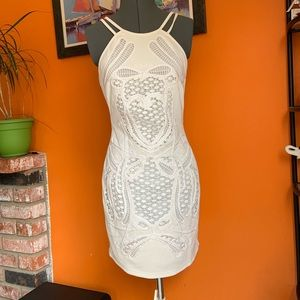 Gold Label Wow Couture White Mini Dress Sz L